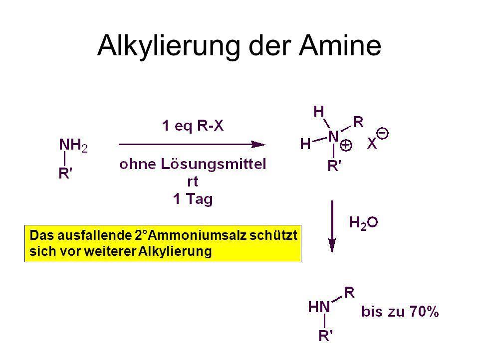 Alkylierung der Amine Das ausfallende 2°Ammoniumsalz schützt sich vor weiterer Alkylierung