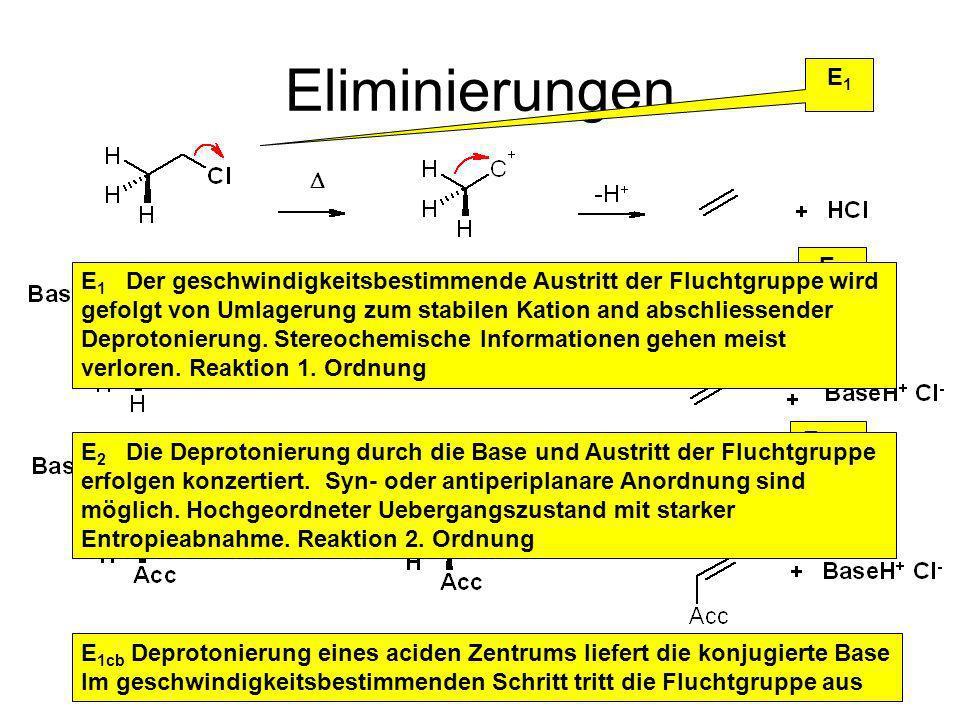 Eliminierungen E1E1 E2E2 E 1CB E 1cb Deprotonierung eines aciden Zentrums liefert die konjugierte Base Im geschwindigkeitsbestimmenden Schritt tritt die Fluchtgruppe aus E 2 Die Deprotonierung durch die Base und Austritt der Fluchtgruppe erfolgen konzertiert.