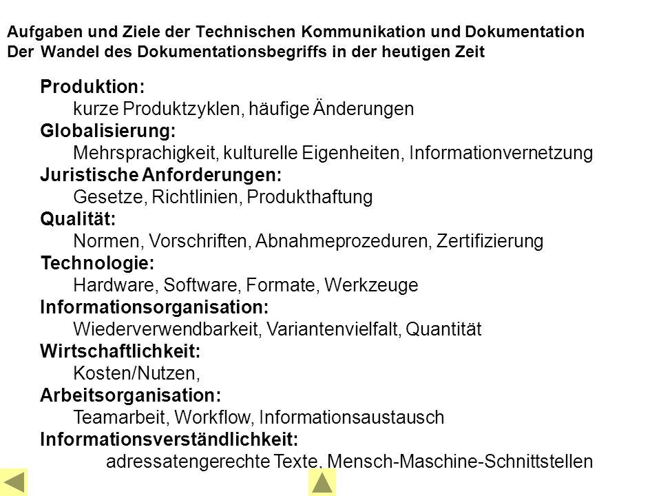 Produktion: kurze Produktzyklen, häufige Änderungen Globalisierung: Mehrsprachigkeit, kulturelle Eigenheiten, Informationvernetzung Juristische Anforderungen: Gesetze, Richtlinien, Produkthaftung Qualität: Normen, Vorschriften, Abnahmeprozeduren, Zertifizierung Technologie: Hardware, Software, Formate, Werkzeuge Informationsorganisation: Wiederverwendbarkeit, Variantenvielfalt, Quantität Wirtschaftlichkeit: Kosten/Nutzen, Arbeitsorganisation: Teamarbeit, Workflow, Informationsaustausch Informationsverständlichkeit: adressatengerechte Texte, Mensch-Maschine-Schnittstellen Aufgaben und Ziele der Technischen Kommunikation und Dokumentation Der Wandel des Dokumentationsbegriffs in der heutigen Zeit
