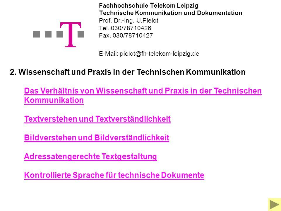 Fachhochschule Telekom Leipzig Technische Kommunikation und Dokumentation Prof.