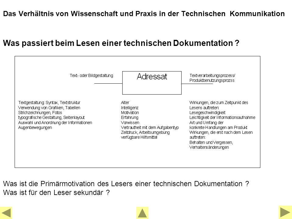 Was passiert beim Lesen einer technischen Dokumentation .
