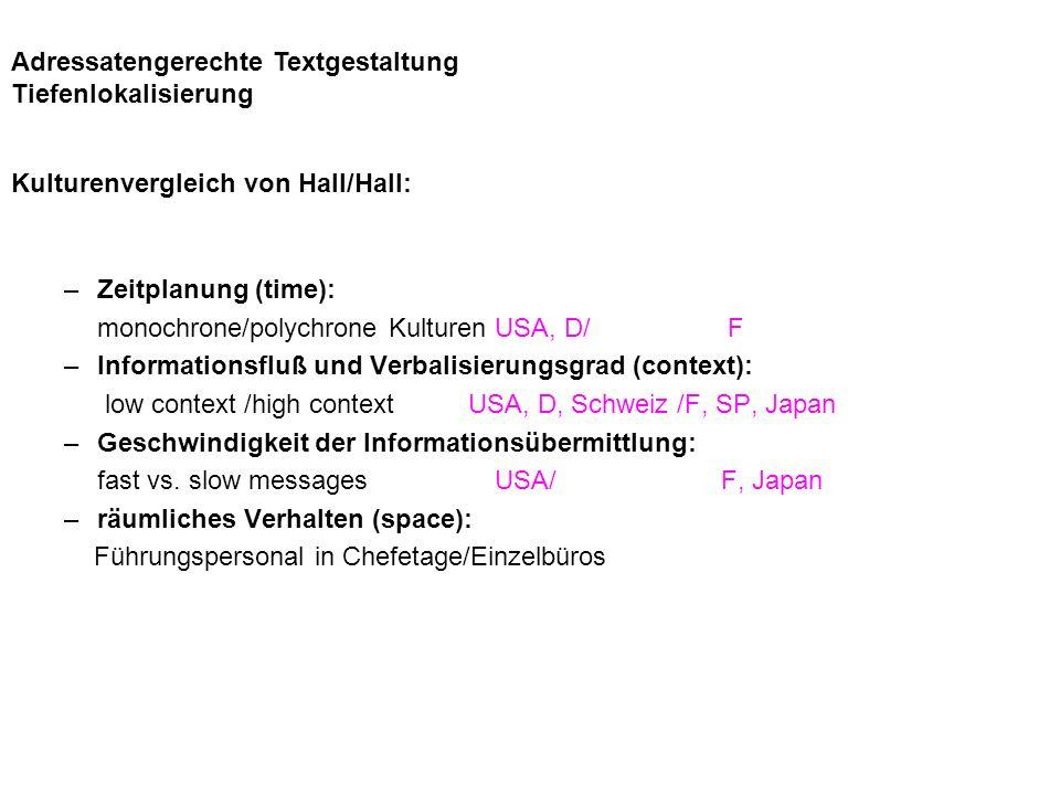 Kulturenvergleich von Hall/Hall: –Zeitplanung (time): monochrone/polychrone Kulturen USA, D/ F –Informationsfluß und Verbalisierungsgrad (context): low context /high context USA, D, Schweiz /F, SP, Japan –Geschwindigkeit der Informationsübermittlung: fast vs.