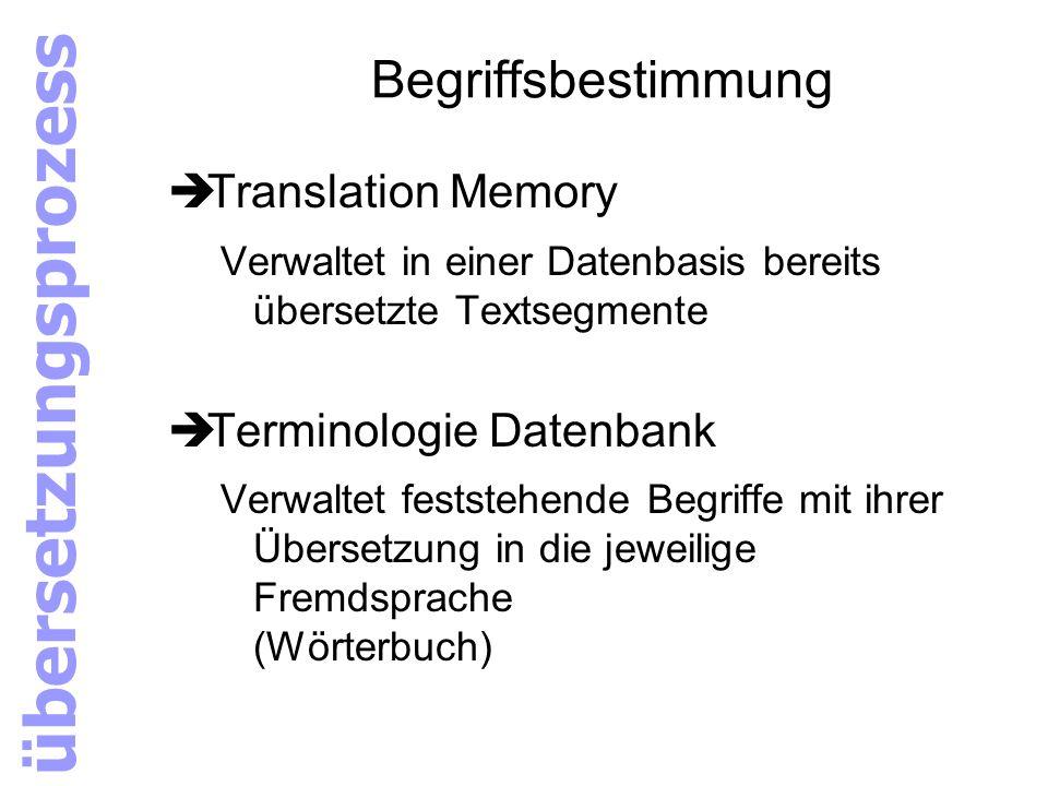 Begriffsbestimmung èTranslation Memory Verwaltet in einer Datenbasis bereits übersetzte Textsegmente èTerminologie Datenbank Verwaltet feststehende Be