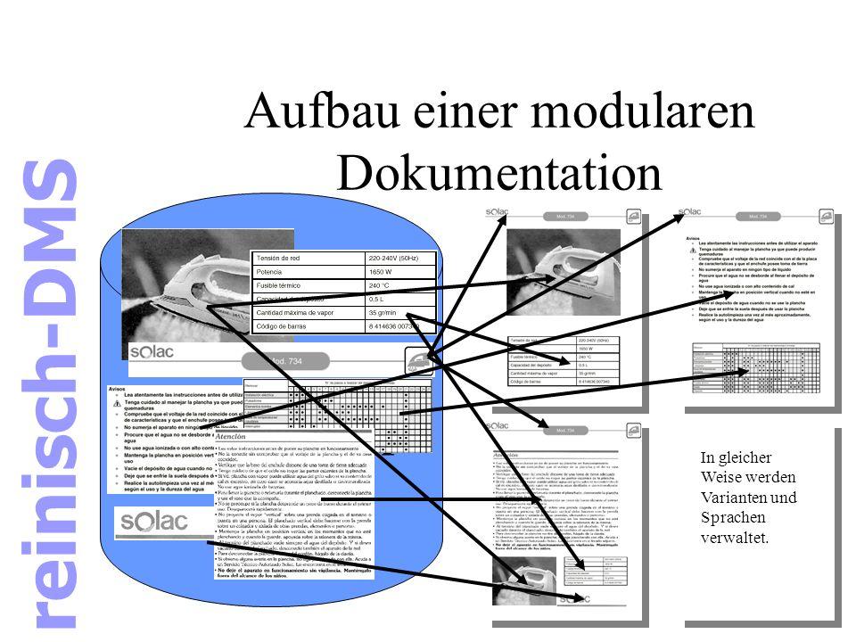 Aufbau einer modularen Dokumentation Datenbank In gleicher Weise werden Varianten und Sprachen verwaltet. reinisch-DMS