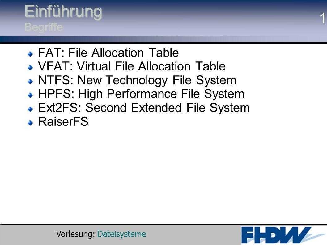Vorlesung: Dateisysteme © 2002 Prof. Dr. G. Hellberg 1 Einführung Begriffe FAT: File Allocation Table VFAT: Virtual File Allocation Table NTFS: New Te