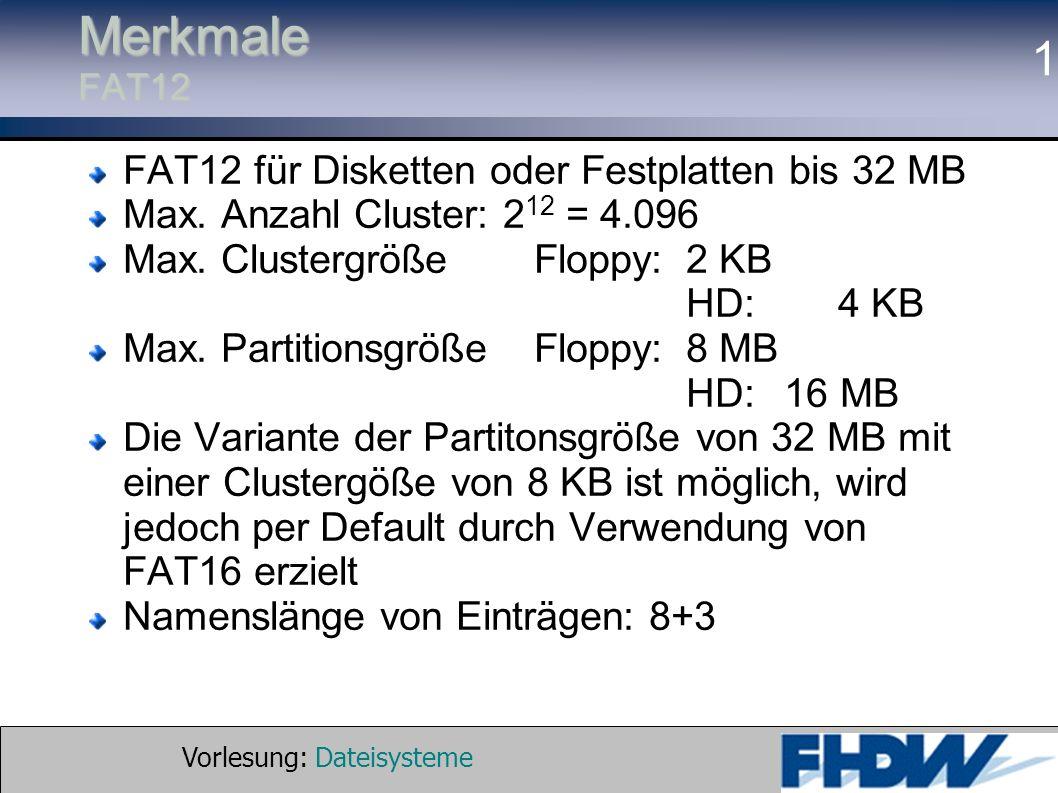 Vorlesung: Dateisysteme © 2002 Prof. Dr. G. Hellberg 1 Merkmale FAT12 FAT12 für Disketten oder Festplatten bis 32 MB Max. Anzahl Cluster: 2 12 = 4.096