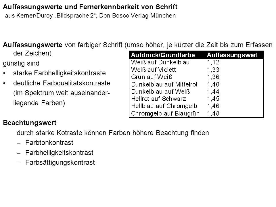 Auffassungswerte und Fernerkennbarkeit von Schrift aus Kerner/Duroy Bildsprache 2, Don Bosco Verlag München Auffassungswerte von farbiger Schrift (ums