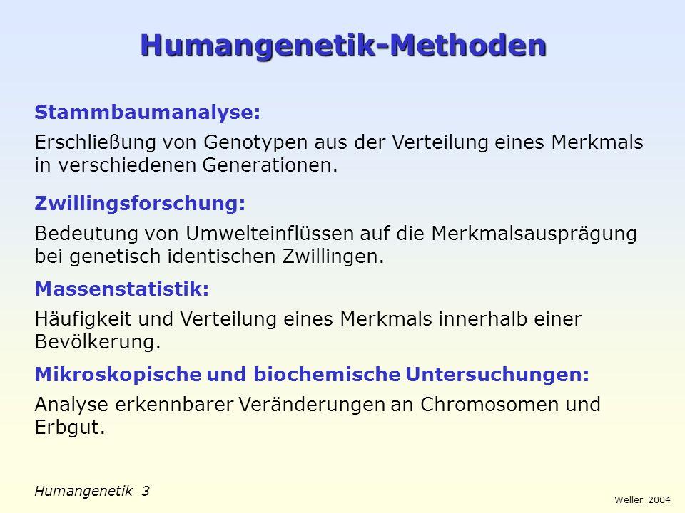Weller 2004 Humangenetik 3 Humangenetik-Methoden Stammbaumanalyse: Erschließung von Genotypen aus der Verteilung eines Merkmals in verschiedenen Gener