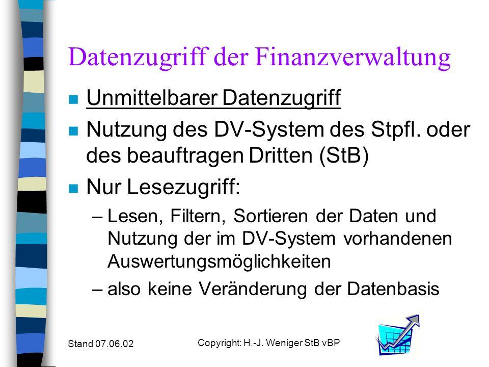 Stand 07.06.02 Copyright: H.-J. Weniger StB vBP Datenzugriff der Finanzverwaltung n Unmittelbarer Datenzugriff n Nutzung des DV-System des Stpfl. oder