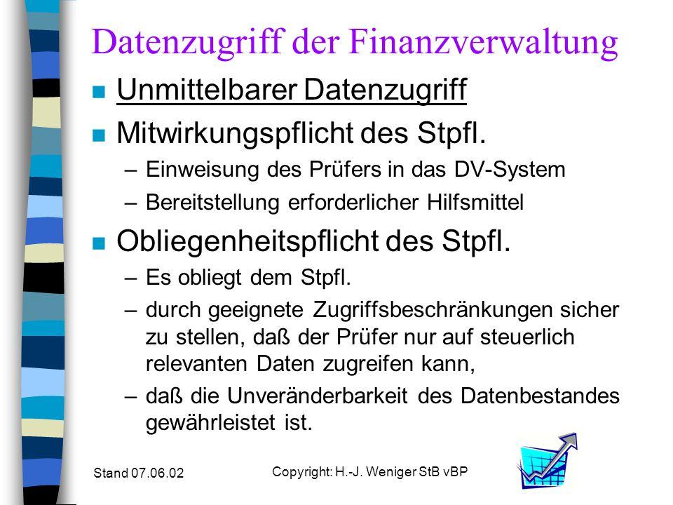 Stand 07.06.02 Copyright: H.-J. Weniger StB vBP Datenzugriff der Finanzverwaltung n Unmittelbarer Datenzugriff n Mitwirkungspflicht des Stpfl. –Einwei