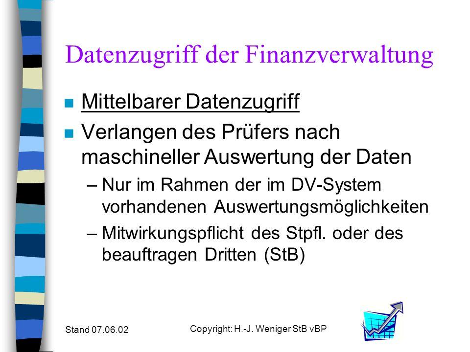 Stand 07.06.02 Copyright: H.-J. Weniger StB vBP Datenzugriff der Finanzverwaltung n Mittelbarer Datenzugriff n Verlangen des Prüfers nach maschineller