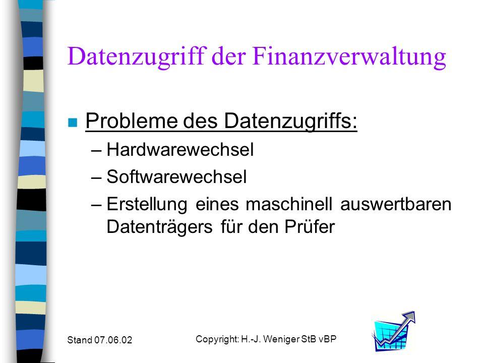 Stand 07.06.02 Copyright: H.-J. Weniger StB vBP Datenzugriff der Finanzverwaltung n Probleme des Datenzugriffs: –Hardwarewechsel –Softwarewechsel –Ers