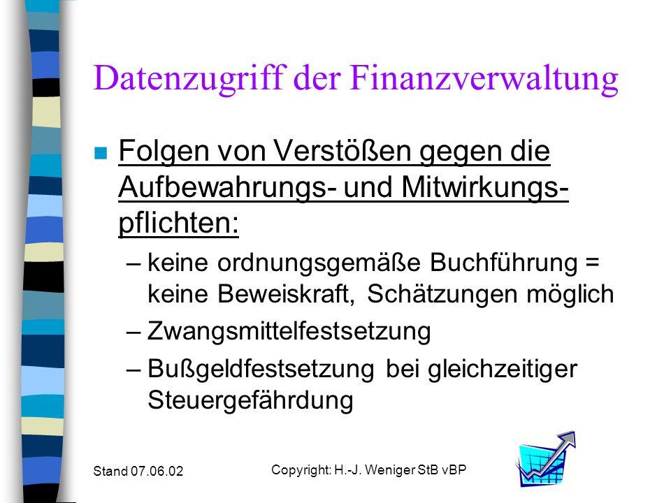 Stand 07.06.02 Copyright: H.-J. Weniger StB vBP Datenzugriff der Finanzverwaltung n Folgen von Verstößen gegen die Aufbewahrungs- und Mitwirkungs- pfl