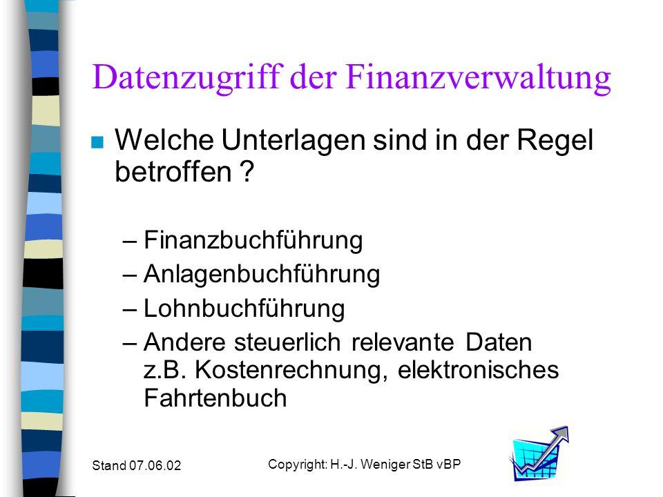 Stand 07.06.02 Copyright: H.-J. Weniger StB vBP Datenzugriff der Finanzverwaltung n Welche Unterlagen sind in der Regel betroffen ? –Finanzbuchführung