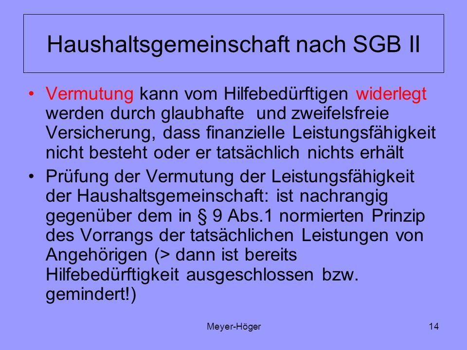 Meyer-Höger14 Haushaltsgemeinschaft nach SGB II Vermutung kann vom Hilfebedürftigen widerlegt werden durch glaubhafte und zweifelsfreie Versicherung,
