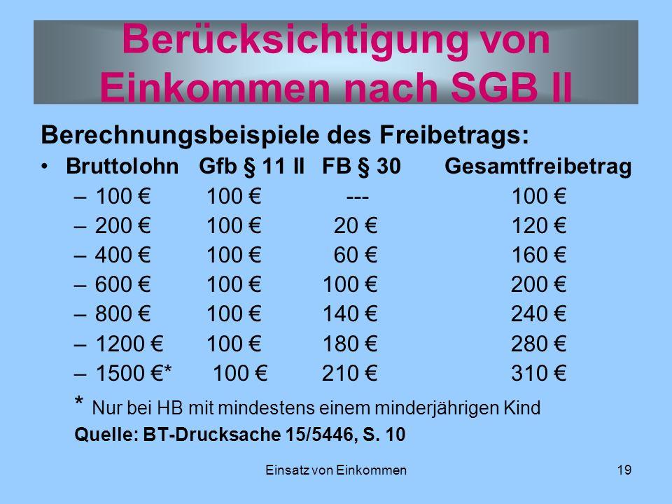 Einsatz von Einkommen19 Berechnungsbeispiele des Freibetrags: Bruttolohn Gfb § 11 II FB § 30 Gesamtfreibetrag –100 100 --- 100 –200 100 20 120 –400 10