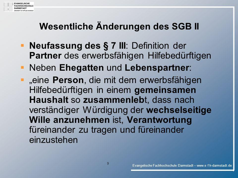 Evangelische Fachhochschule Darmstadt – www.e f h-darmstadt.de 20 Aktueller Beratungsstand Empfehlungen der Ausschüsse vom 30.06.06 an den Bundesrat : 1.Zustimmung des Bundesrats für das vorliegende Gesetz 2.Entschließung des Bundesrates über das Bestehen eines weiteren, grundlegenden Reformbedarfs beim SGB II, unter Berücksichtigung folgender Punkte (25):