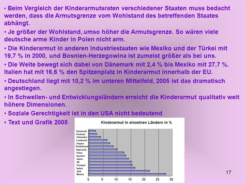 17 Beim Vergleich der Kinderarmutsraten verschiedener Staaten muss bedacht werden, dass die Armutsgrenze vom Wohlstand des betreffenden Staates abhäng