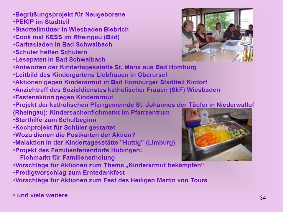 34 Begrüßungsprojekt für Neugeborene PEKIP im Stadtteil Stadtteilmütter in Wiesbaden Biebrich Cook mal KESS im Rheingau (Bild) Caritasladen in Bad Sch
