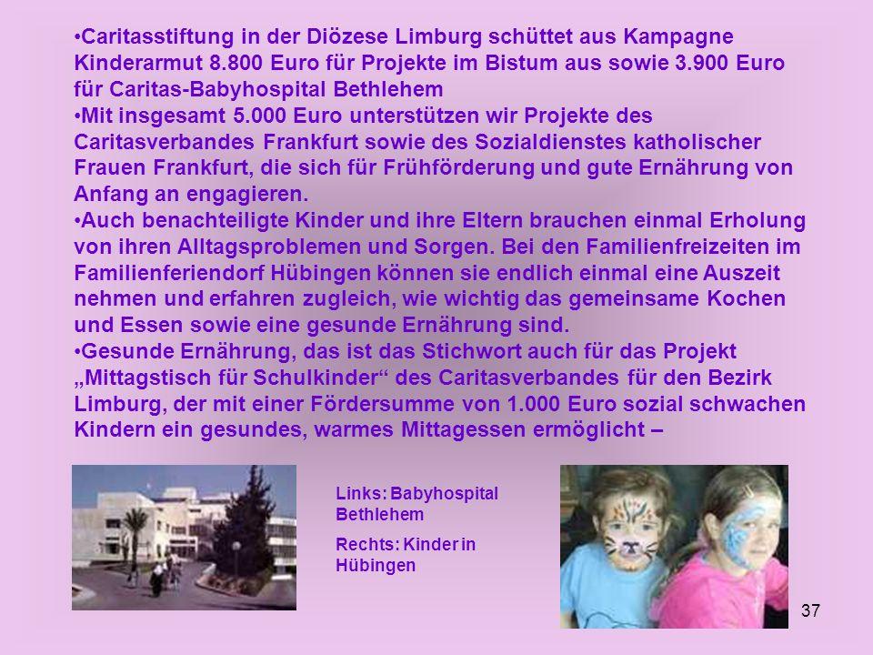 37 Caritasstiftung in der Diözese Limburg schüttet aus Kampagne Kinderarmut 8.800 Euro für Projekte im Bistum aus sowie 3.900 Euro für Caritas-Babyhos