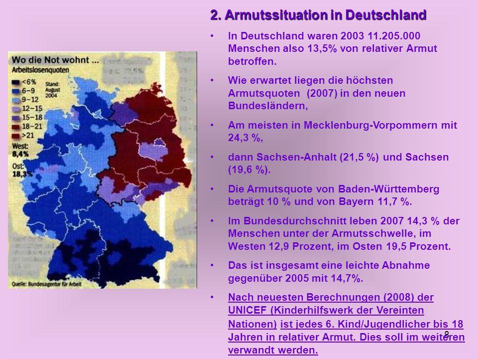 8 2. Armutssituation in Deutschland In Deutschland waren 2003 11.205.000 Menschen also 13,5% von relativer Armut betroffen. Wie erwartet liegen die hö