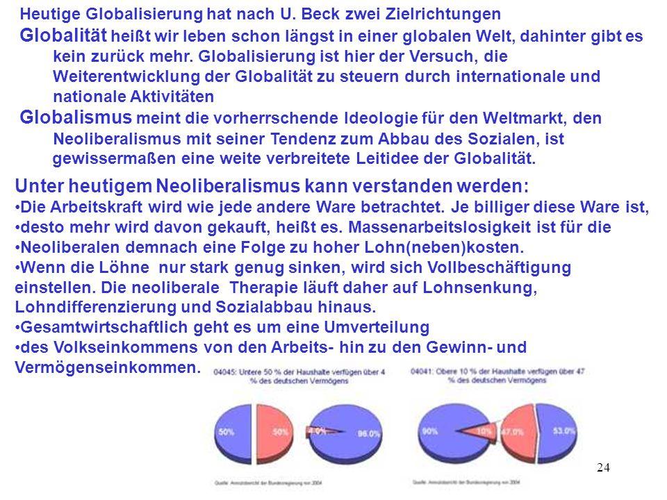 24 Heutige Globalisierung hat nach U. Beck zwei Zielrichtungen Globalität heißt wir leben schon längst in einer globalen Welt, dahinter gibt es kein z