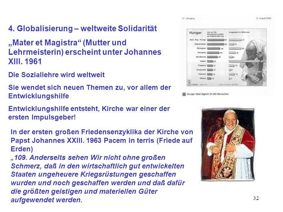 32 4. Globalisierung – weltweite Solidarität Mater et Magistra (Mutter und Lehrmeisterin) erscheint unter Johannes XIII. 1961 Die Soziallehre wird wel