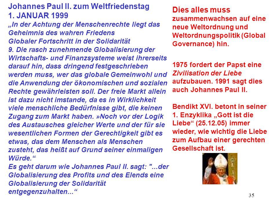 35 Johannes Paul II. zum Weltfriedenstag 1. JANUAR 1999 In der Achtung der Menschenrechte liegt das Geheimnis des wahren Friedens Globaler Fortschritt