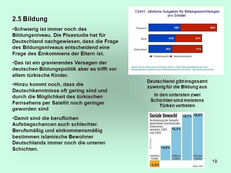 19 2.5 Bildung Schwierig ist immer noch das Bildungsniveau. Die Pisastudie hat für Deutschland nachgewiesen, dass die Frage des Bildungsniveaus entsch