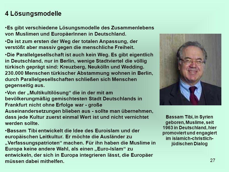 27 4 Lösungsmodelle Es gibt verschiedene Lösungsmodelle des Zusammenlebens von Muslimen und EuropäerInnen in Deutschland. Da ist zum ersten der Weg de