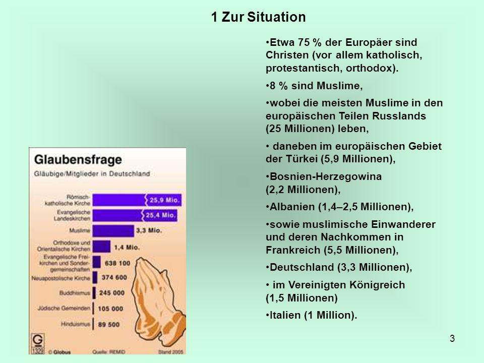 3 Etwa 75 % der Europäer sind Christen (vor allem katholisch, protestantisch, orthodox). 8 % sind Muslime, wobei die meisten Muslime in den europäisch