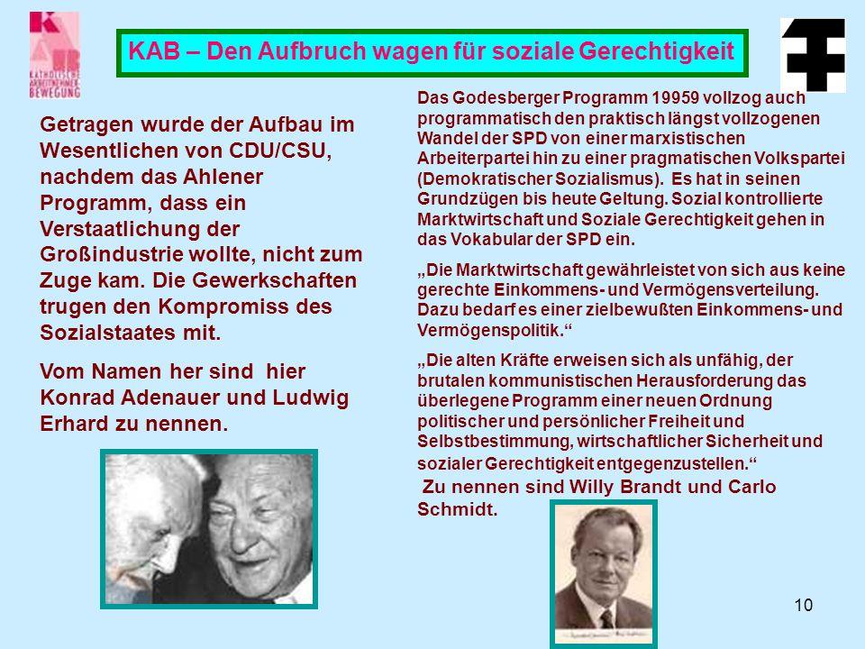 10 KAB – Den Aufbruch wagen für soziale Gerechtigkeit Getragen wurde der Aufbau im Wesentlichen von CDU/CSU, nachdem das Ahlener Programm, dass ein Verstaatlichung der Großindustrie wollte, nicht zum Zuge kam.