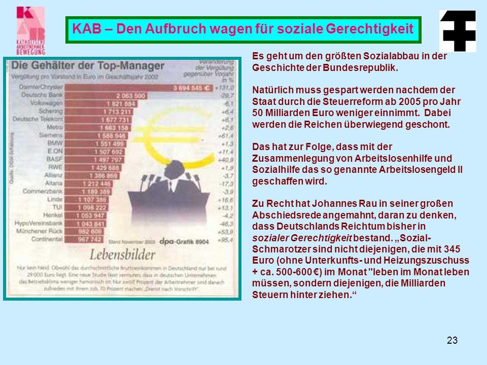 23 KAB – Den Aufbruch wagen für soziale Gerechtigkeit Es geht um den größten Sozialabbau in der Geschichte der Bundesrepublik.