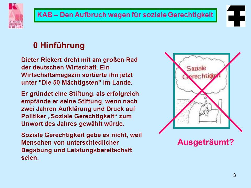 3 KAB – Den Aufbruch wagen für soziale Gerechtigkeit 0 Hinführung Ausgeträumt.
