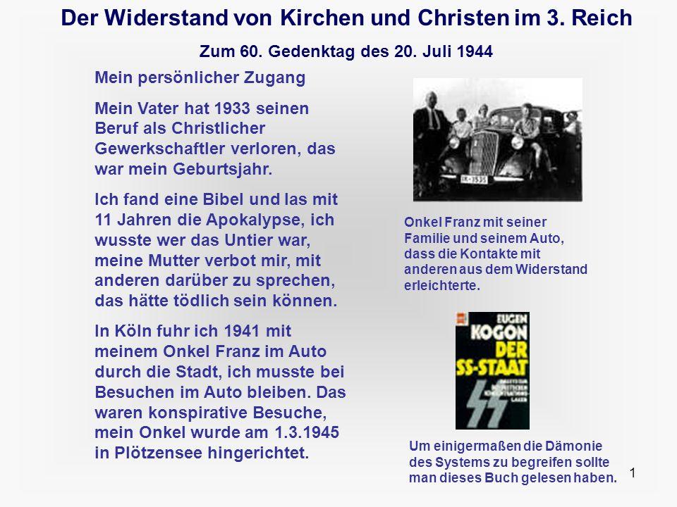 1 Der Widerstand von Kirchen und Christen im 3. Reich Zum 60. Gedenktag des 20. Juli 1944 Mein persönlicher Zugang Mein Vater hat 1933 seinen Beruf al