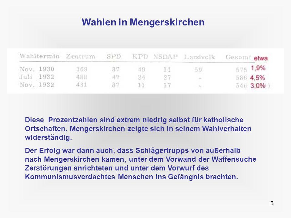 5 Wahlen in Mengerskirchen Diese Prozentzahlen sind extrem niedrig selbst für katholische Ortschaften. Mengerskirchen zeigte sich in seinem Wahlverhal