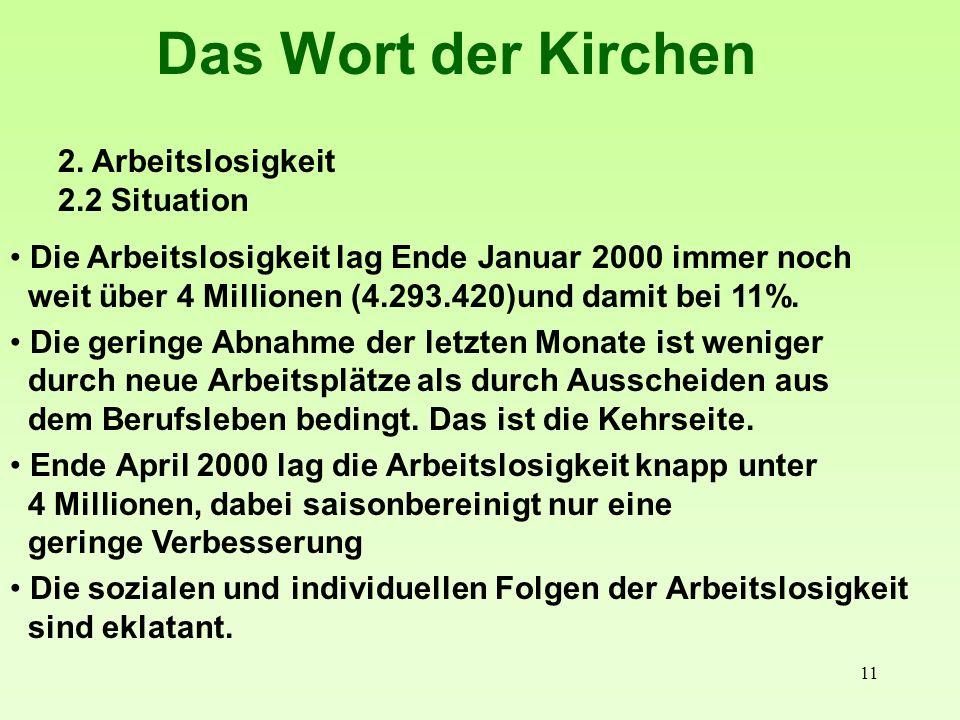 11 Das Wort der Kirchen 2. Arbeitslosigkeit 2.2 Situation Die Arbeitslosigkeit lag Ende Januar 2000 immer noch weit über 4 Millionen (4.293.420)und da