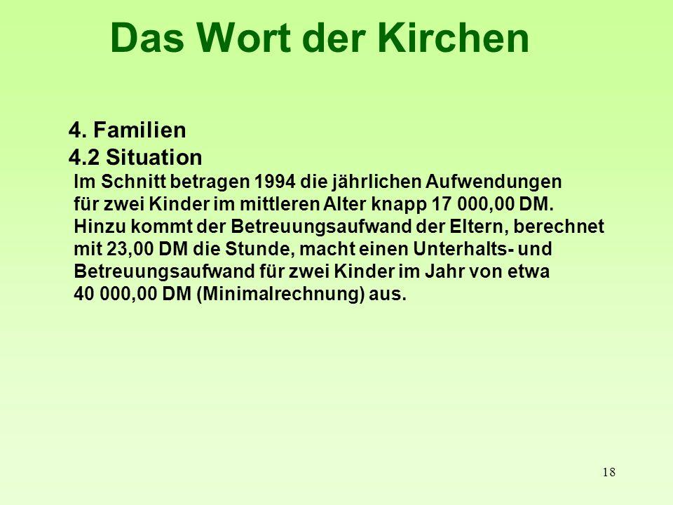18 Das Wort der Kirchen 4. Familien 4.2 Situation Im Schnitt betragen 1994 die jährlichen Aufwendungen für zwei Kinder im mittleren Alter knapp 17 000