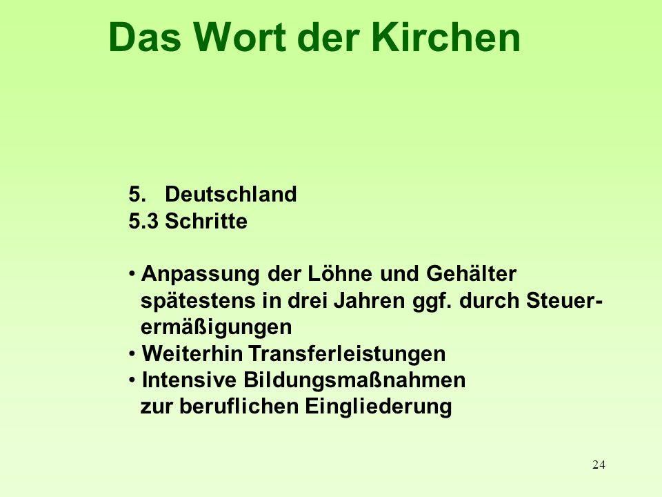 24 Das Wort der Kirchen 5. Deutschland 5.3 Schritte Anpassung der Löhne und Gehälter spätestens in drei Jahren ggf. durch Steuer- ermäßigungen Weiterh