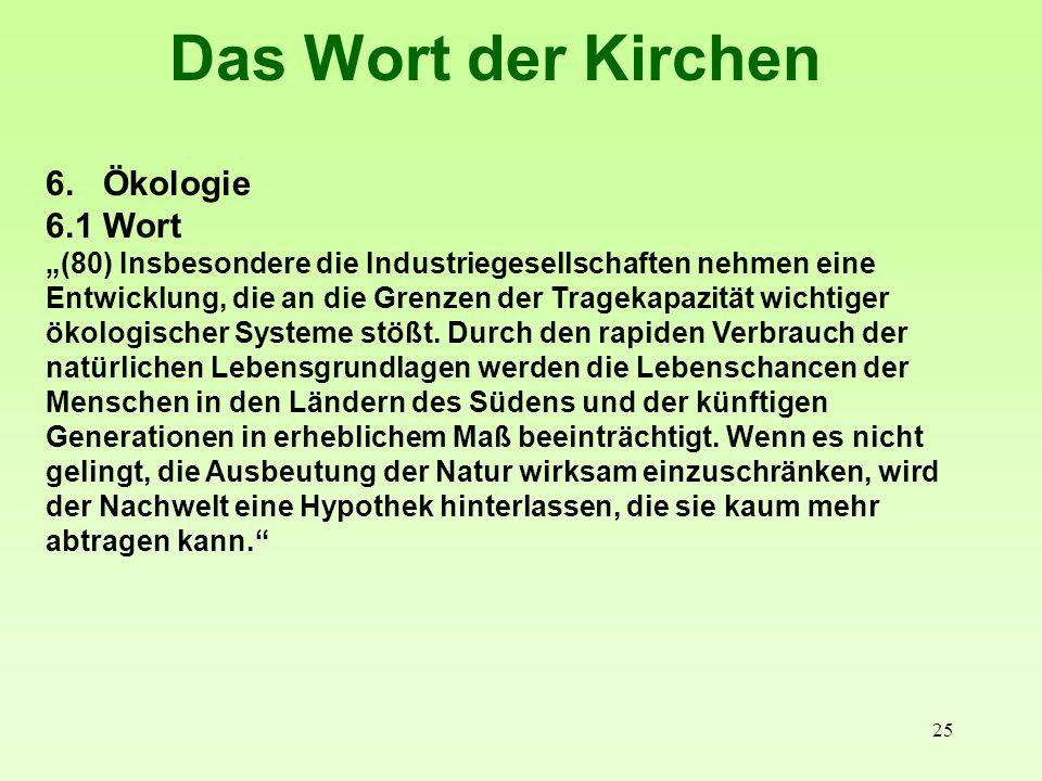 25 Das Wort der Kirchen 6. Ökologie 6.1 Wort (80) Insbesondere die Industriegesellschaften nehmen eine Entwicklung, die an die Grenzen der Tragekapazi