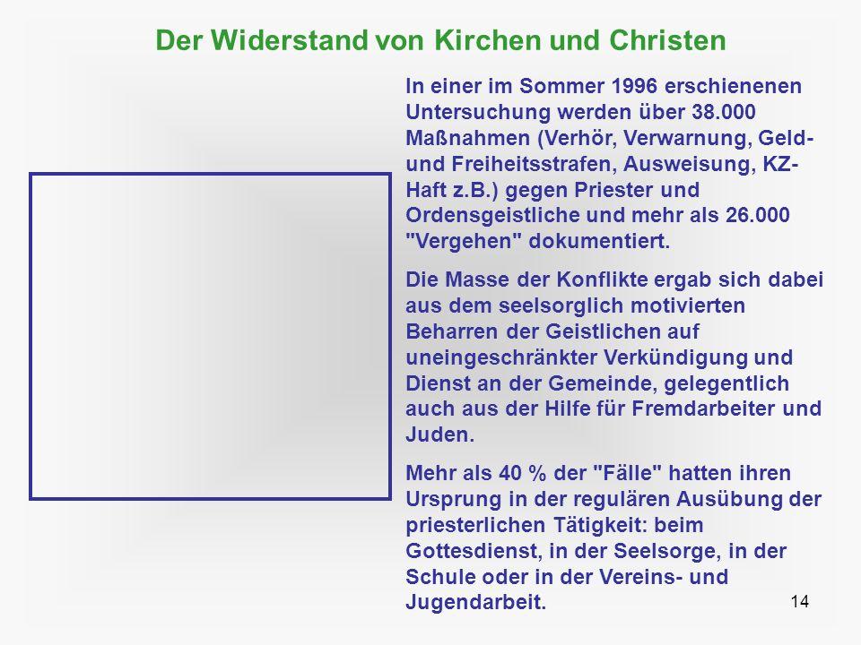14 Der Widerstand von Kirchen und Christen In einer im Sommer 1996 erschienenen Untersuchung werden über 38.000 Maßnahmen (Verhör, Verwarnung, Geld- u
