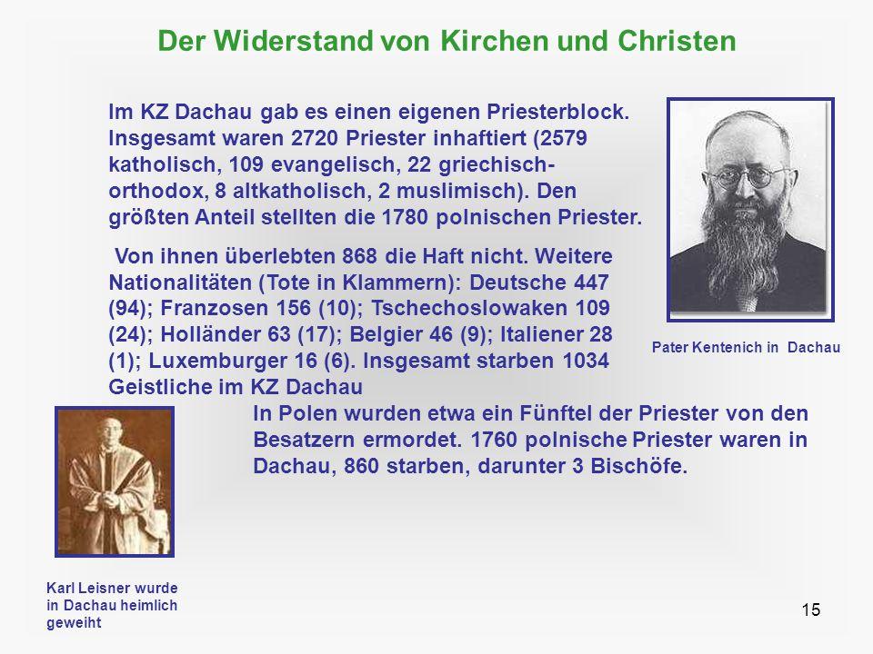 15 Der Widerstand von Kirchen und Christen In Polen wurden etwa ein Fünftel der Priester von den Besatzern ermordet. 1760 polnische Priester waren in