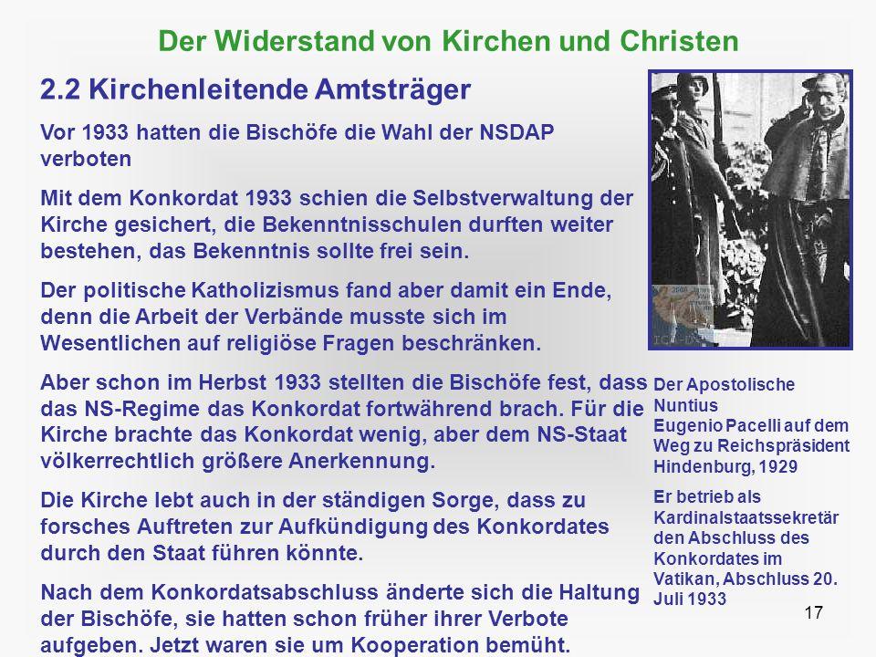 17 Der Widerstand von Kirchen und Christen 2.2 Kirchenleitende Amtsträger Vor 1933 hatten die Bischöfe die Wahl der NSDAP verboten Mit dem Konkordat 1