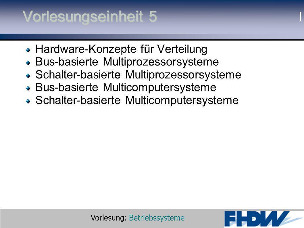 Vorlesung: Betriebssysteme © 2002 Prof. Dr. G. Hellberg 1 Vorlesungseinheit 5 Hardware-Konzepte für Verteilung Bus-basierte Multiprozessorsysteme Scha