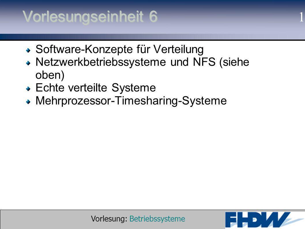 Vorlesung: Betriebssysteme © 2002 Prof. Dr. G. Hellberg 1 Vorlesungseinheit 6 Software-Konzepte für Verteilung Netzwerkbetriebssysteme und NFS (siehe