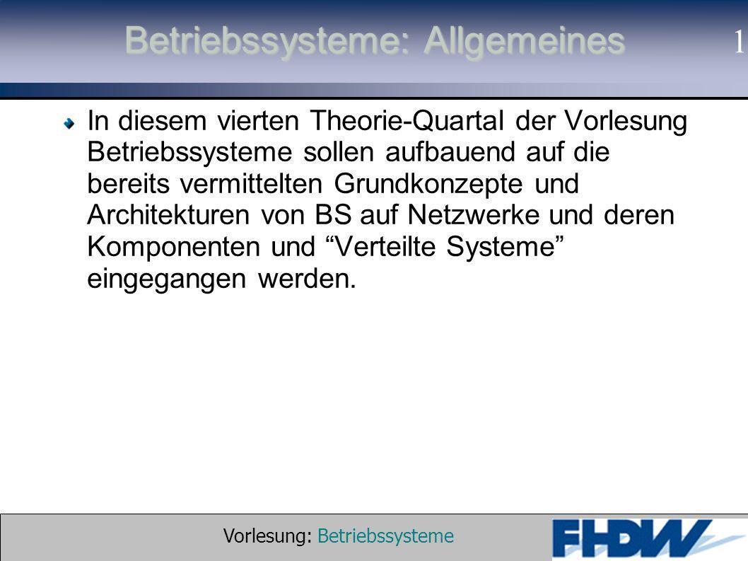 Vorlesung: Betriebssysteme © 2002 Prof. Dr. G. Hellberg 1 Betriebssysteme: Allgemeines In diesem vierten Theorie-Quartal der Vorlesung Betriebssysteme