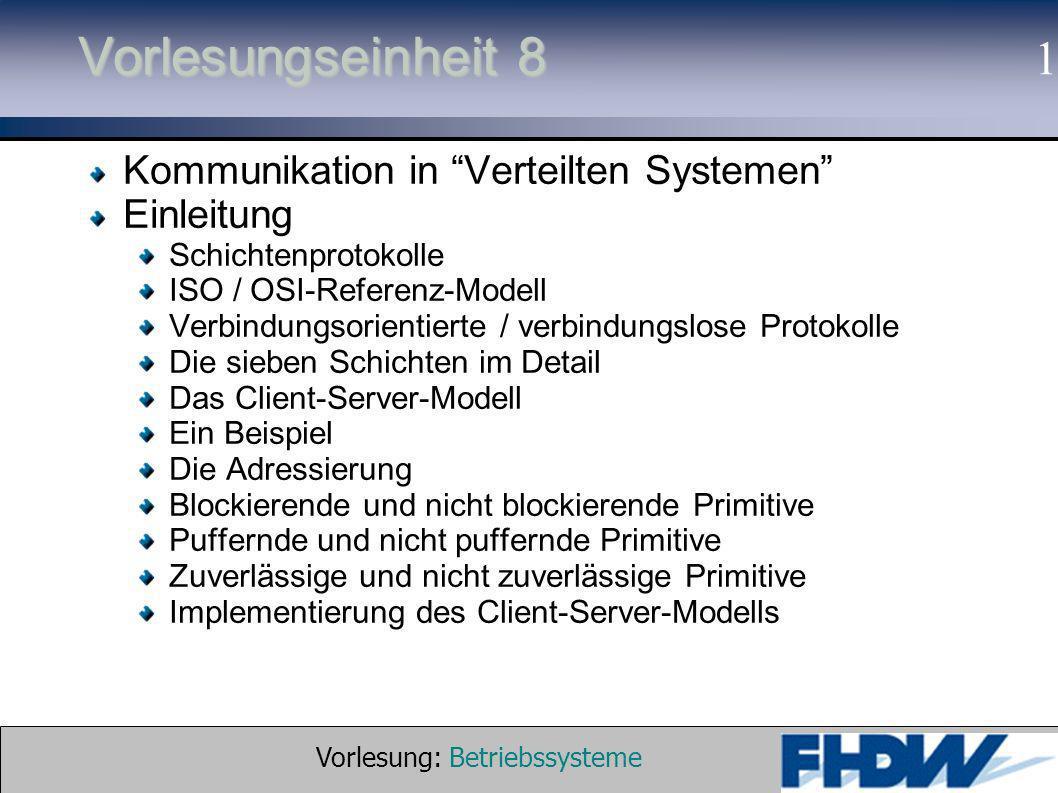 Vorlesung: Betriebssysteme © 2002 Prof. Dr. G. Hellberg 1 Vorlesungseinheit 8 Kommunikation in Verteilten Systemen Einleitung Schichtenprotokolle ISO