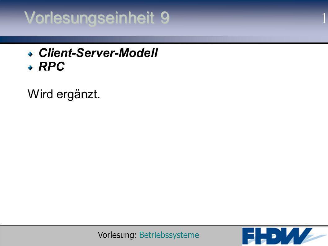 Vorlesung: Betriebssysteme © 2002 Prof. Dr. G. Hellberg 1 Vorlesungseinheit 9 Client-Server-Modell RPC Wird ergänzt.