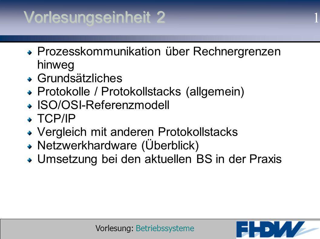 Vorlesung: Betriebssysteme © 2002 Prof. Dr. G. Hellberg 1 Vorlesungseinheit 2 Prozesskommunikation über Rechnergrenzen hinweg Grundsätzliches Protokol