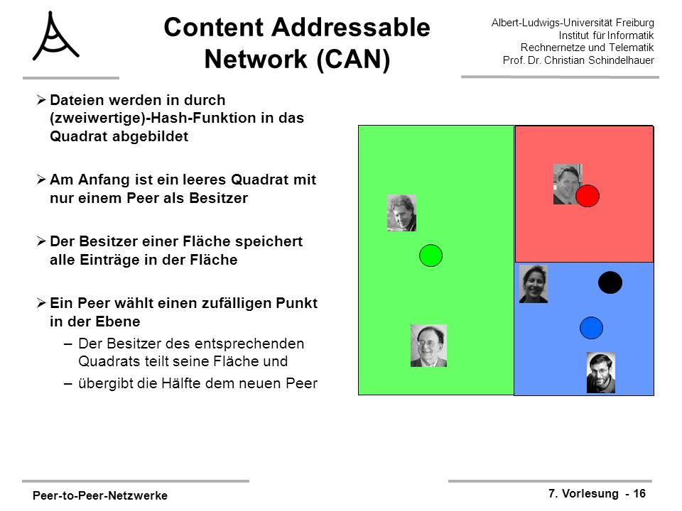 Peer-to-Peer-Netzwerke 7. Vorlesung - 16 Albert-Ludwigs-Universität Freiburg Institut für Informatik Rechnernetze und Telematik Prof. Dr. Christian Sc